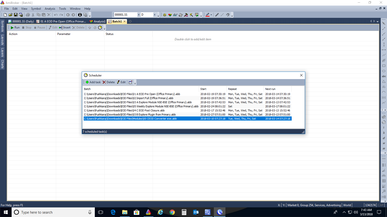 Sequencing Batch File Runs When AmiBroker Has Been Closed